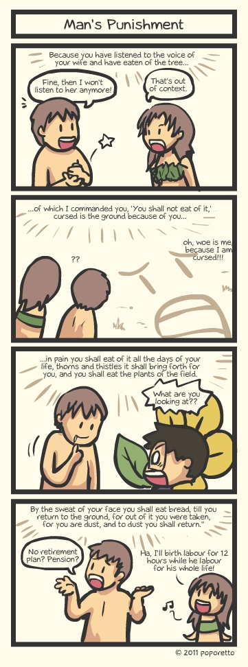 Genesis Bible Christian Comic Strip man punishment adam