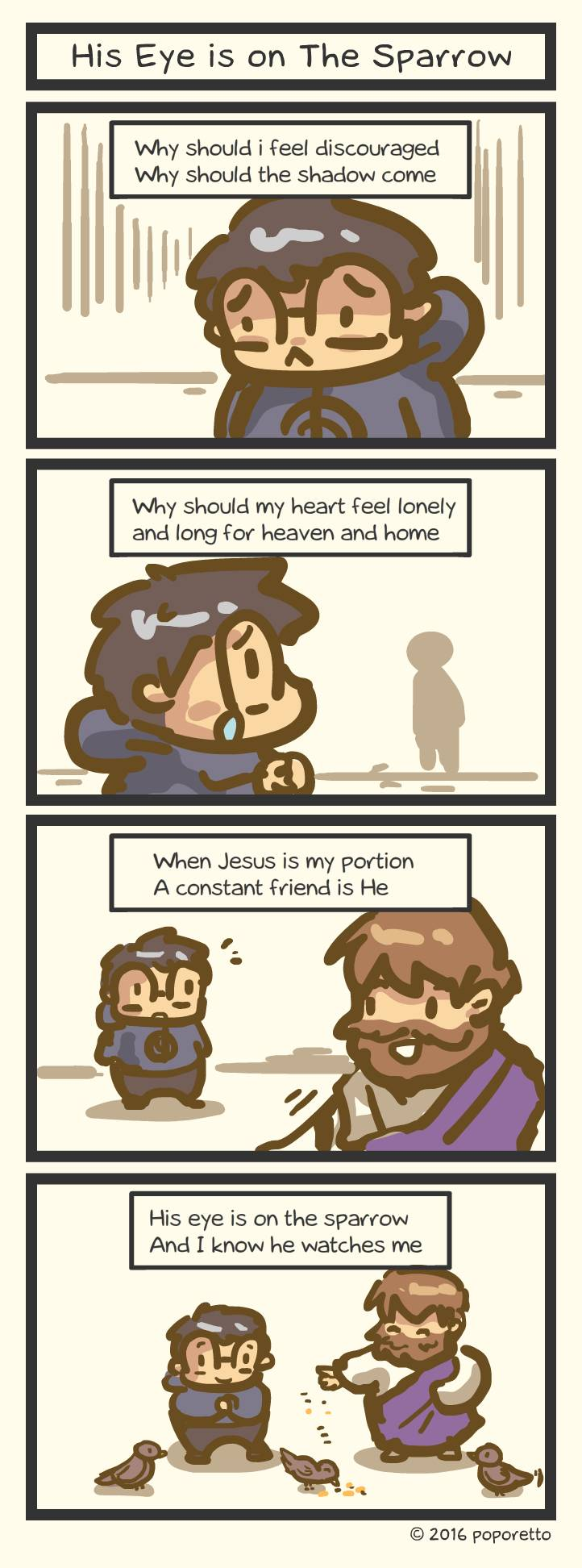 Christian comic strip His eye is on the sparrow and I know that he watches me Jesus