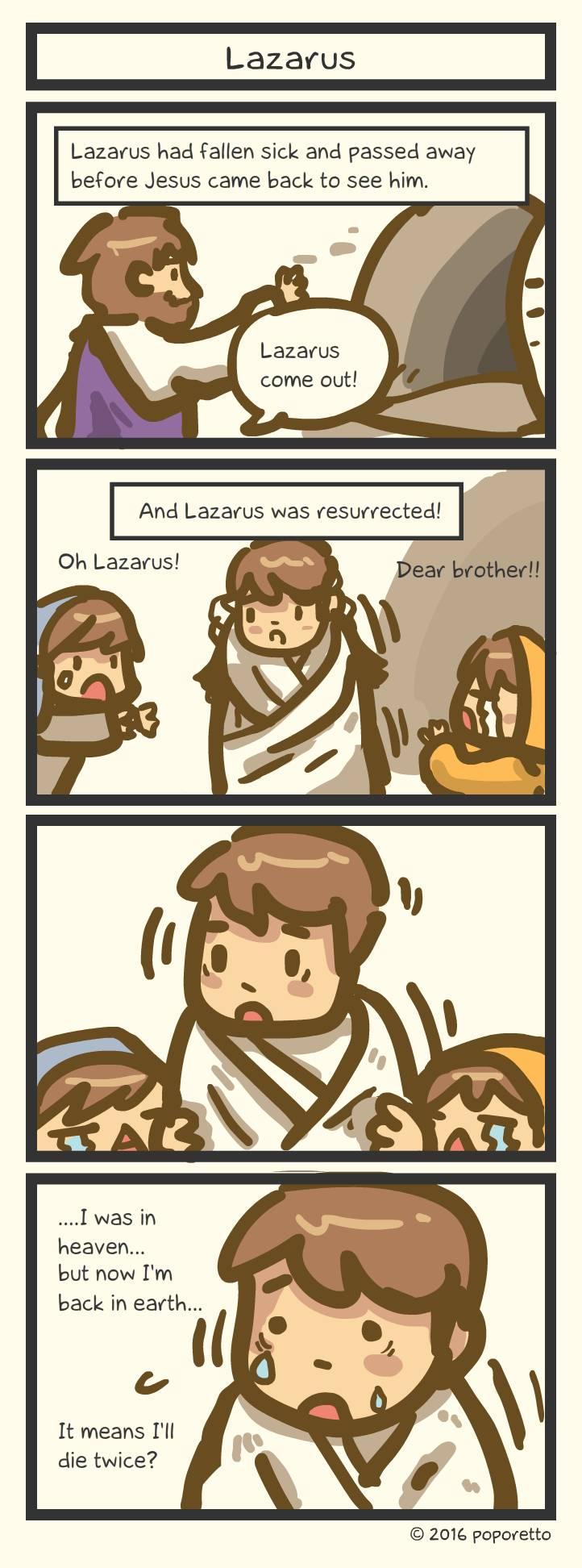 Christian comic strip Lazarus death and resurrection