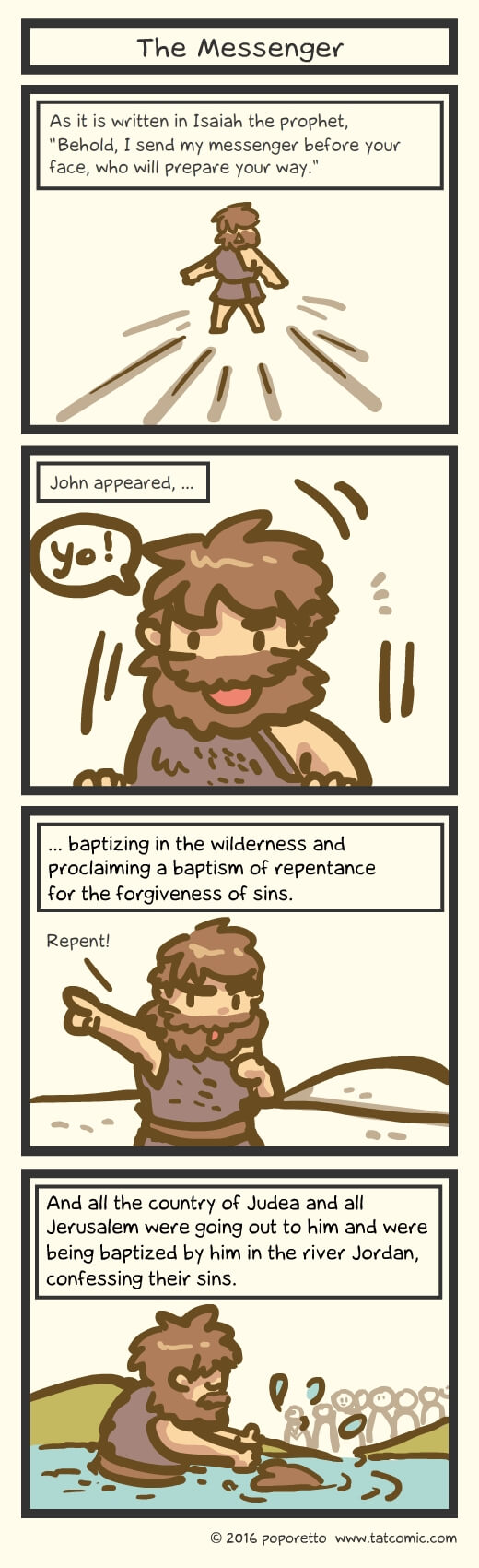 Christian Comic Strip the Gospel of Mark Book of Mark John the baptist proclaiming john the baptist