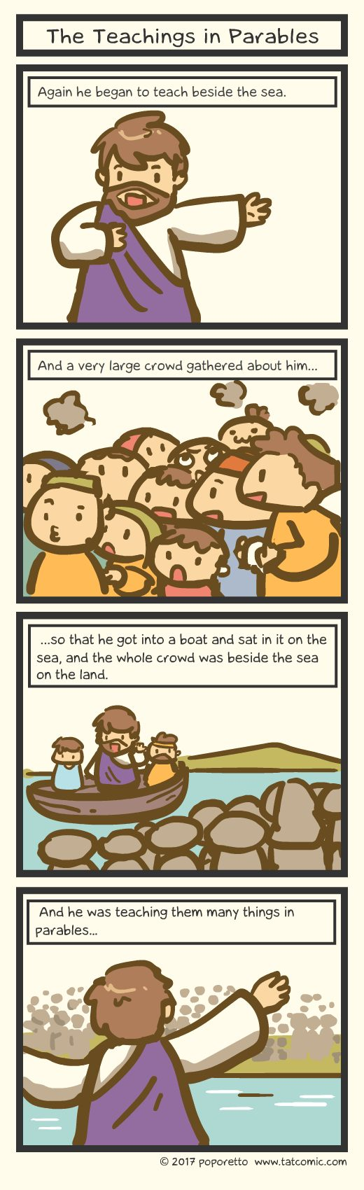 Gospel Christian comic strip jesus and the great crowd following him while jesus teaches using parables