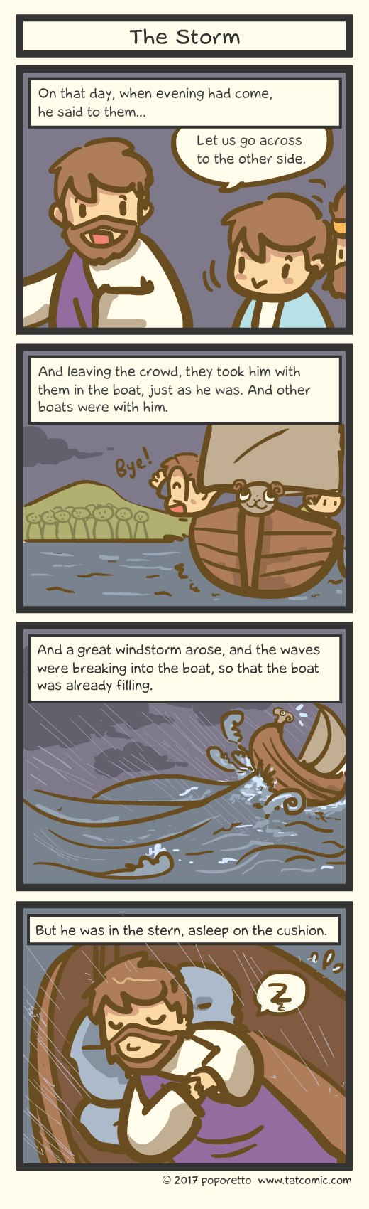 Gospel Christian comic strip jesus and his disciples went out to the sea and the storm caught up to them