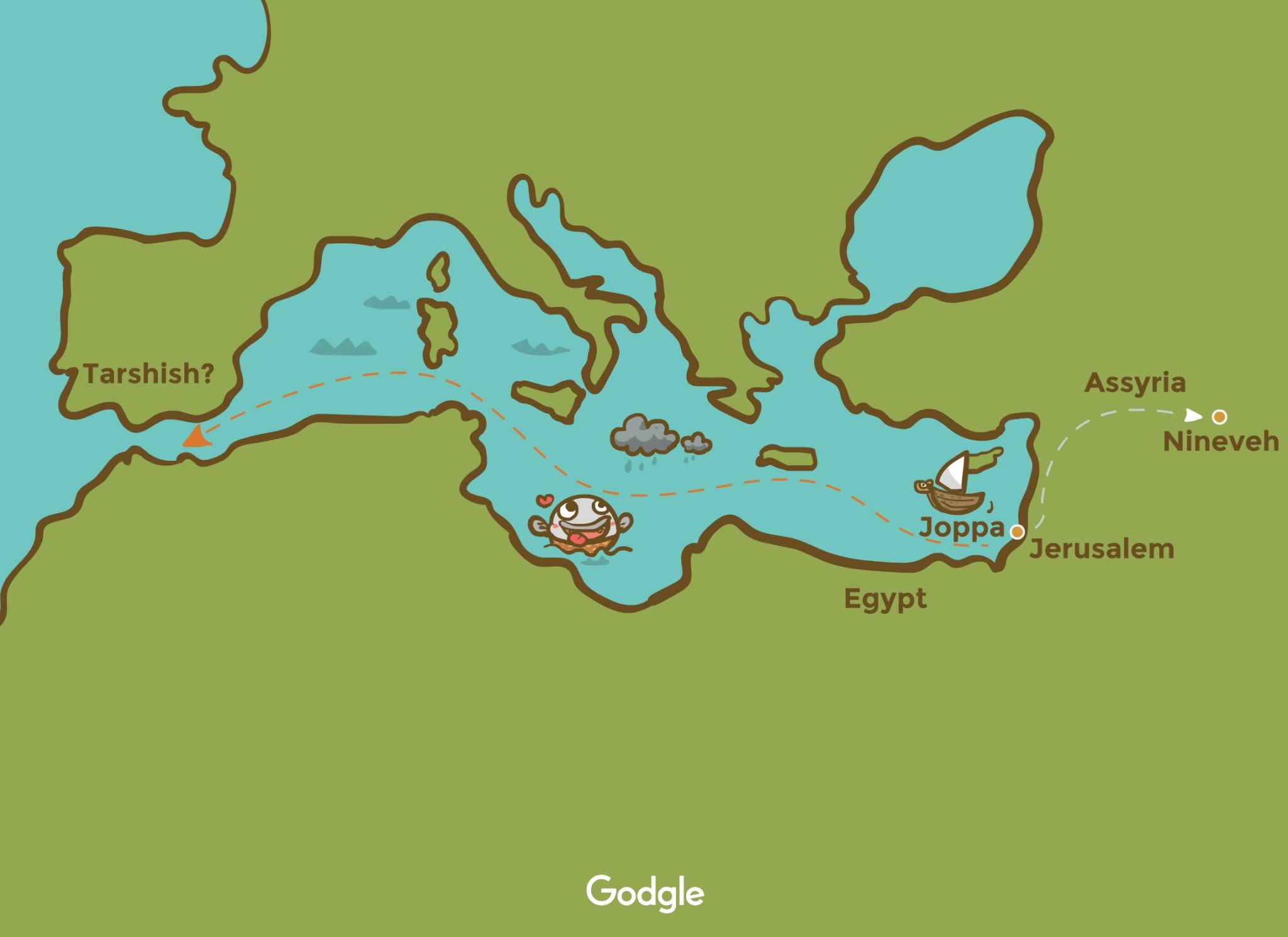 Map Jonah's running away from God instead of Nineveh, he went to tarsish instead