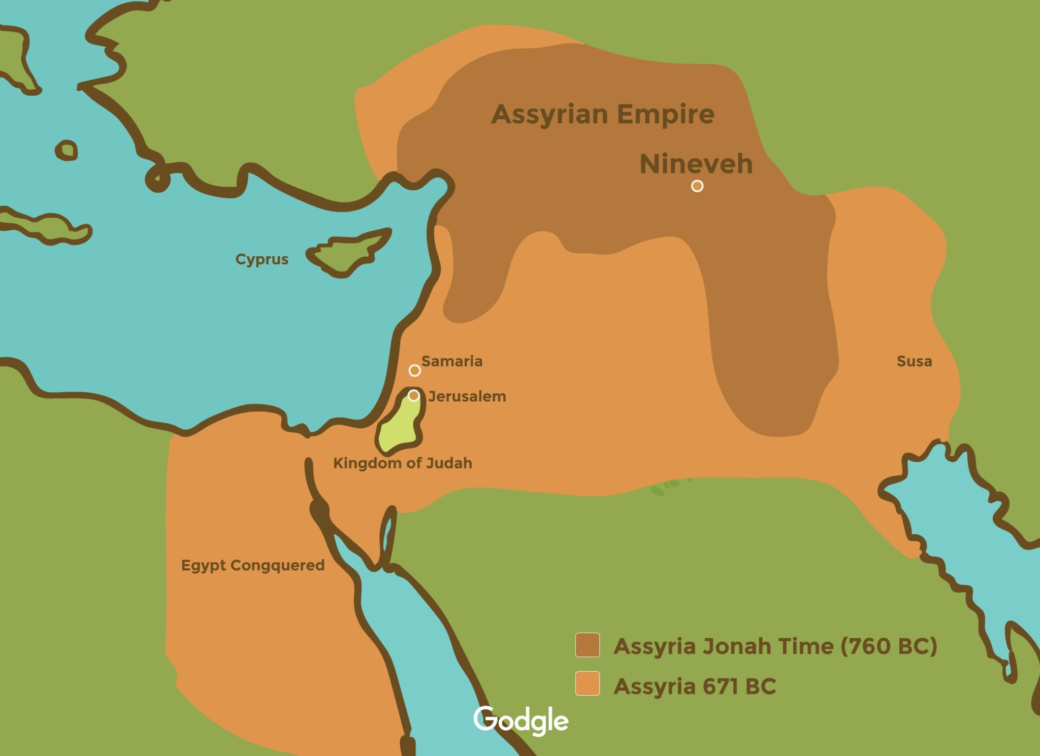 map of assyrian empire on Jonah's time