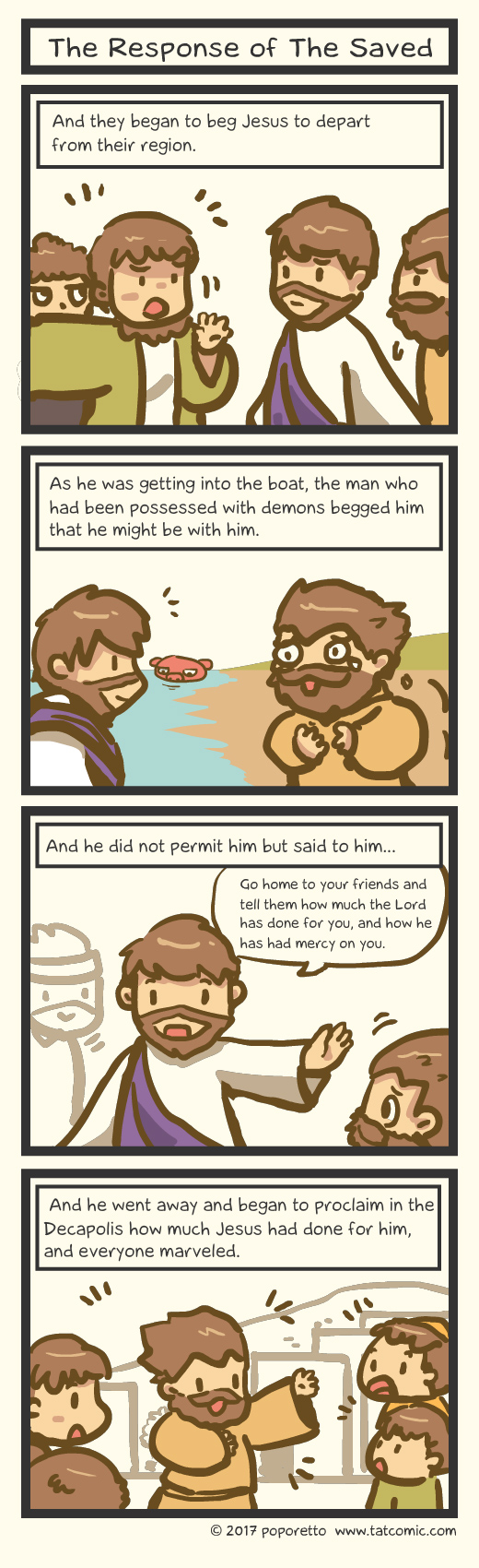 Gospel Christian comic strip jesus and his disciples went out to the sea and the storm caught up to them, jesus and the response from the cleansed man from legion